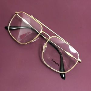 Prada clear gold frames